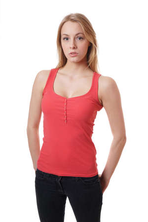 tanktop: cool young woman wearing jeans and red tanktop Stock Photo