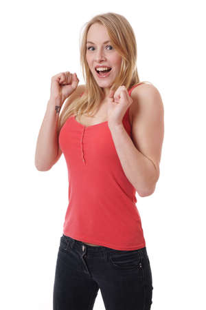 yelp: young woman is pleasantly surprised and screaming of joy