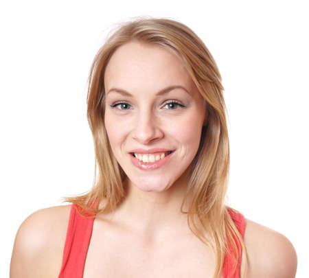 ragazze bionde: felice giovane donna con un grande sorriso a trentadue denti naturali