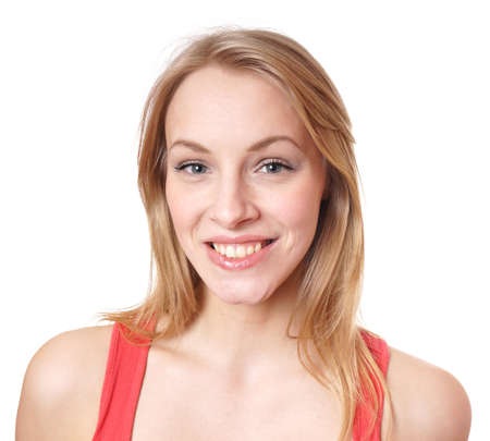 happy young woman with a big natural toothy smile