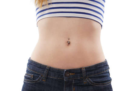 beautiful navel women: belly button or navel piercing isolated on white Stock Photo