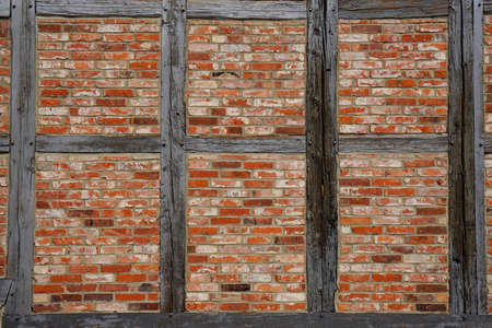 half timbered: timber frame or half-timbered wall background texture Stock Photo