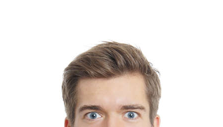 prying: upper part of a male face with staring eyes