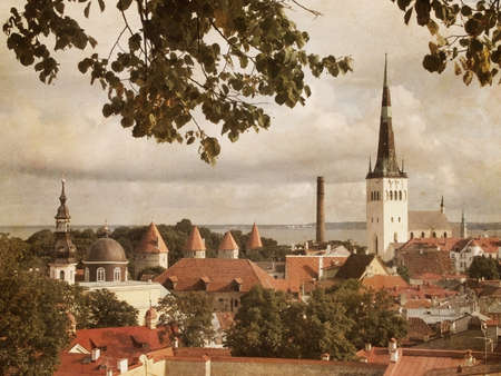 filtered: panoramic view of Tallinn in Estonia in vintage filtered style