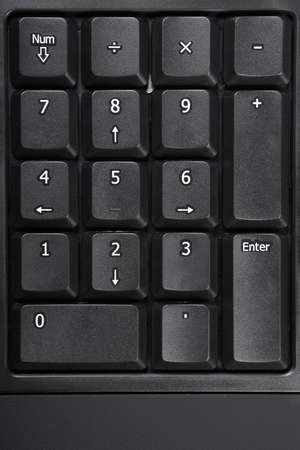 teclado numérico: teclado numérico o el teclado numérico en un teclado de computadora negro Foto de archivo