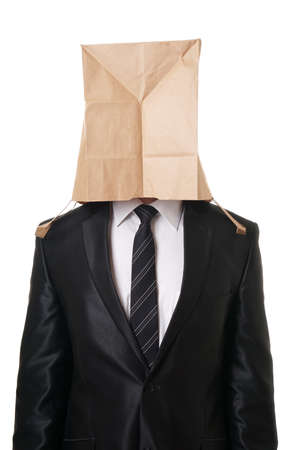 business man with brown paper bag over his head hiding his face