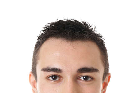 voyeur: upper part of male face with brown eyes and short dark hair