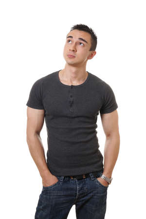 prying: casual young man looking up towards copy space