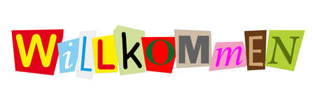willkommen: willkommen meaning welcome in german in colorful cut out letters