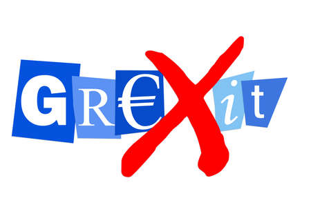 alphabet greek symbols: Grexit greek financial debt crisis may lead to greek euro exit Stock Photo