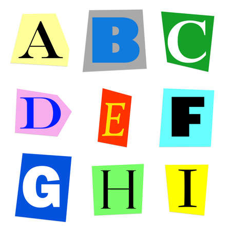 newsprint: colorful alphabet cut out from magazine letters A to I in high resolution