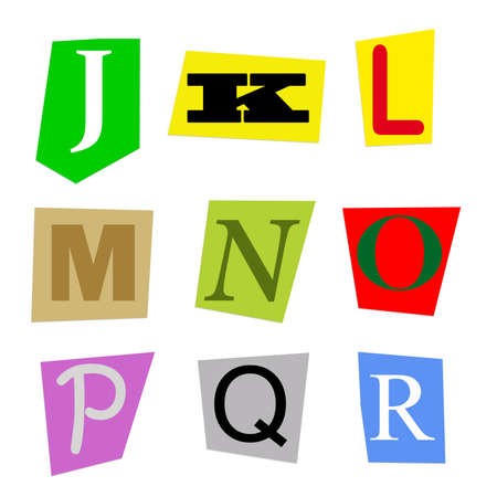 r p m: colorful alphabet cut out from magazine letters J to R in high resolution