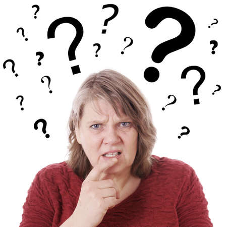 elderly woman looking confused with question marks above her head
