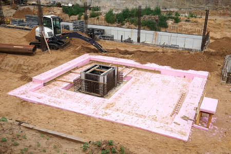 housing lot: foundation pit at a building or construction site