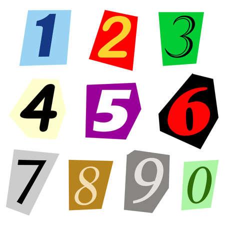 ritagliare: set completo di singole cifre tagliato fuori da rivista