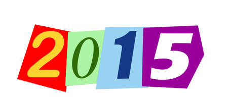 arabic numeral: year 2015 made with colorful numbers cut out from magazine