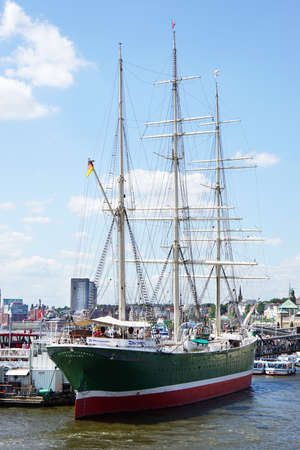 barque: Hamburg, Germany - July 22, 2015: The three masted barque Rickmer Rickmers is moored permantly as a museum ship at Port of Hamburg.