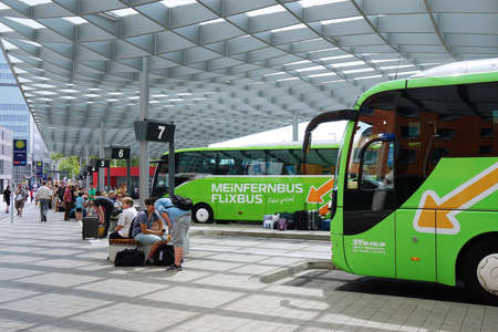 Hannover, Germany - August 04, 2015: The new ZOB (central bus station) was opened on September 1st, 2014 and is used by national and international long distance busses.