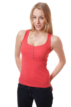 cool young woman wearing jeans and red tanktop Stock Photo