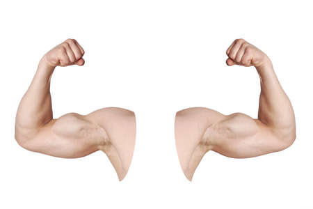 flexed: cut out male arms with flexed biceps muscles isolated on white Stock Photo