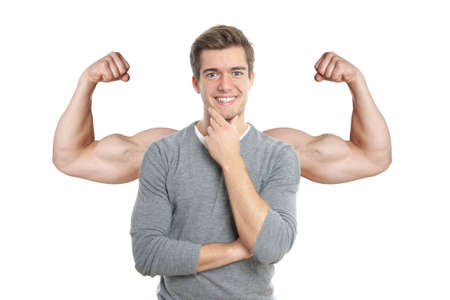flexed: happy young man with superimposed muscular arms Stock Photo