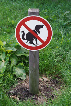 dog poop: prohibition sign no dog pooping on lawn Stock Photo
