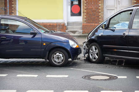 from the front: car crash or auto accident with front-end collision