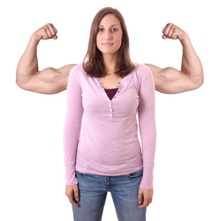 strong woman: confident young woman with superimposed male muscular arms