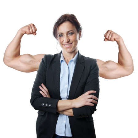 superimposed: successful business woman concept with superimposed muscular arms Stock Photo