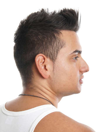spiky hair: young turkish man with trendy spiky hair style