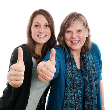 a ok: daughter and mother giving thumbs upisolated on white