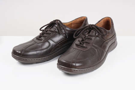 gents: dark brown mens or gents leather shoes Stock Photo