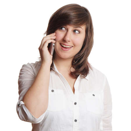 chitchat: happy young woman making a call on mobile cell phone