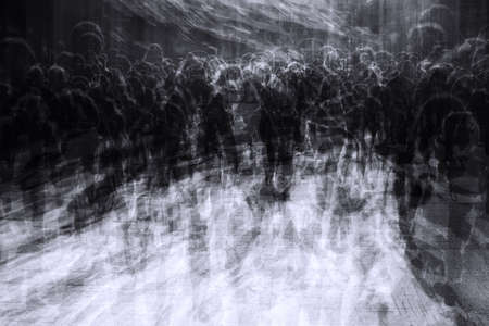 multiple exposure of people in overcrowded city on black friday resembling a zombie apocalypse