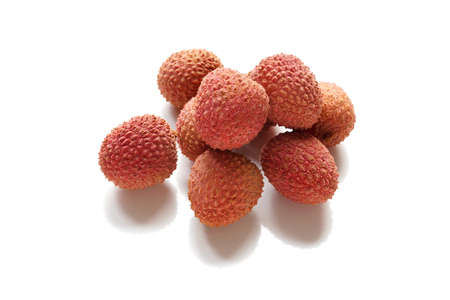 lichi: lychee or litchi chinensis fruit on white background