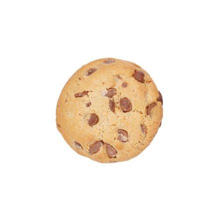 chocolate treats: chocolate chip cookie from directly above, isolated Stock Photo