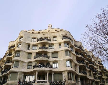 la: La Pedrera, also known as Casa Mila, by architect Antoni Gaudi. Barcelona, Spain.