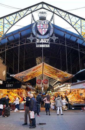 la: Barcelona, Spain - March 01, 2016: Mercat de Sant Josep, better known as La Boqueria, is popular with locals and tourists alike.
