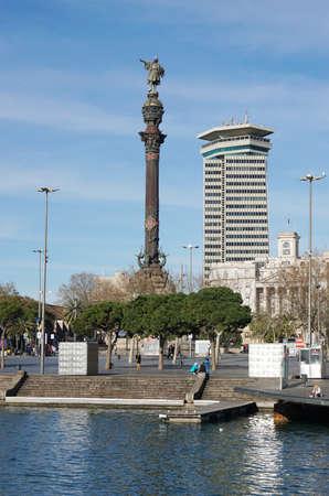 rambla: Barcelona, Spain - March 01, 2016: Columbus monument as seen from Rambla de Mar. Editorial