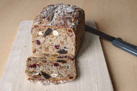 wholegrain: whole-grain fruit and nut bread from Germany on cutting board
