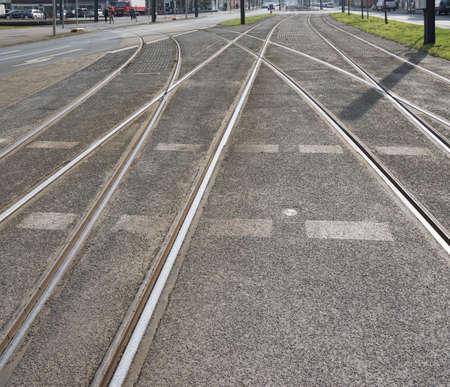 railway points: streetcar or tram tracks in a German city