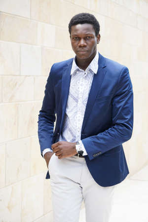 mens fashion: young man of african descent wearing smart casual mens fashion Stock Photo
