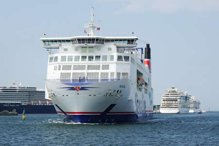 ferrying: Rostock, Germany - May 30th, 2016: Stena Line ferry ship Skane crossing the baltic sea from Rostock Warnemunde in Germany to Trelleborg in Sweden in just 6 hours.