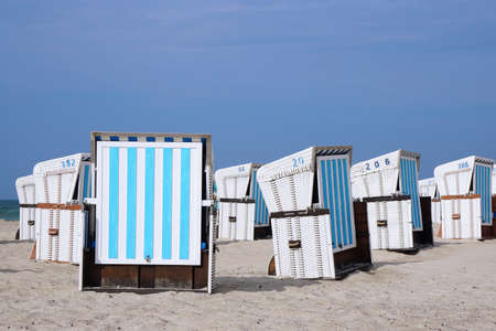 characteristic: roofed wicker beach chairs are characteristic for the German baltic sea coast