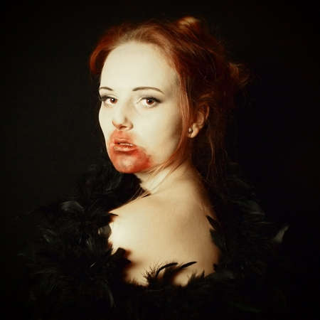 glamourous: female vampire portayed as a glamourous vamp with art filter