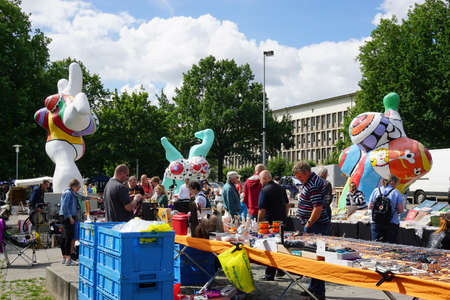 fleamarket: Hannover, Germany - July 9, 2016: Hannover flea market, taking place every Saturday, claims to be the oldest flea market in Germany. Editorial