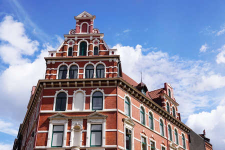 restored: restored red brick historicist building in Hannover Germany