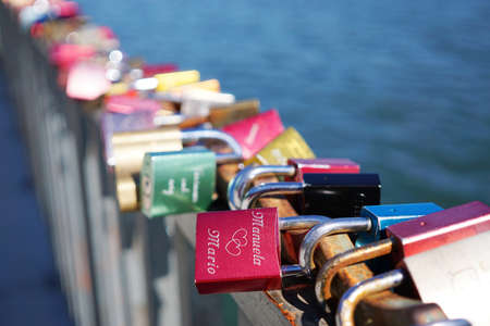 symbolize: love locks or padlocks symbolize everlasting love. selctive focus.