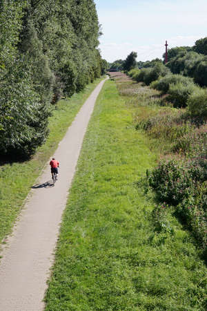 bikeway: unrecognizable cyclist cycling on bicycle path in nature