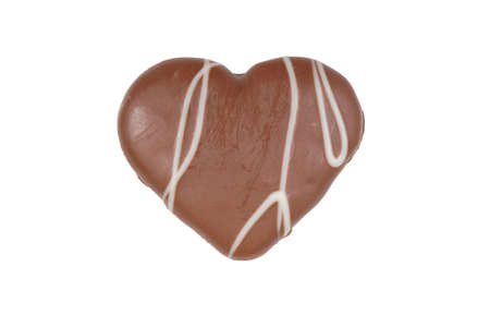 bickie: heart-shaped cookie with chocolate frosting isolated on white background Stock Photo